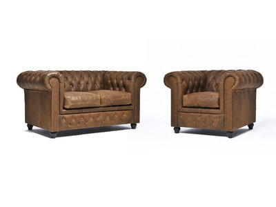 Chesterfield Sofa Vintage Leather | 1 + 2 seater  | Alabama C1059 | 12 years guarantee
