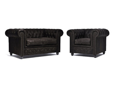 Chesterfield Sofa Vintage Leather | 1 + 2 seater  | C0936 | 12 years guarantee