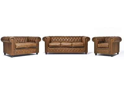 Chesterfield Sofa Vintage Leather | 1 + 2 + 3 seater  | Alabama C1059 | 12 years guarantee