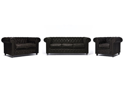 Chesterfield Sofa Vintage Leather | 1 + 2 + 3 seater  | C0936 | 12 years guarantee