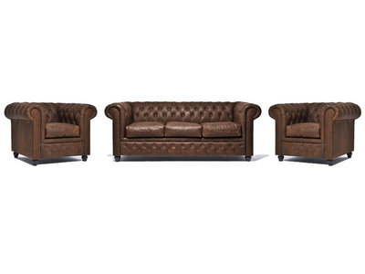 Chesterfield Sofa Vintage Leather   1 + 1 + 3 seater    C0869   12 years guarantee
