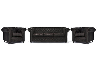 Chesterfield Sofa Vintage Leather | 1 + 1 + 3 seater  | C0936 | 12 years guarantee