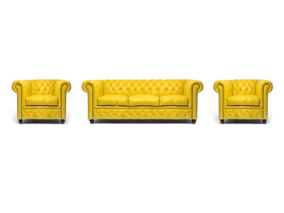 Chesterfield Sofa Original Leather | 1 + 1 + 3 seater  | Yellow | 12 years guarantee
