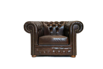 Chesterfield Armchair First Class Leather | Cloudy Brown Dark | 12 years guarantee