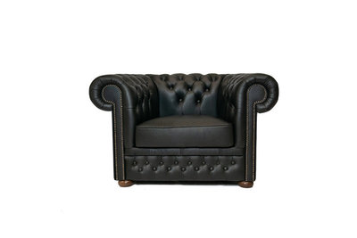 Chesterfield Armchair First Class Leather | Shiny Black | 12 years guarantee