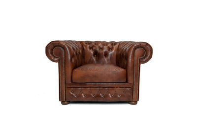 Chesterfield Armchair First Class Leather | Cloudy Brown Old | 12 years guarantee