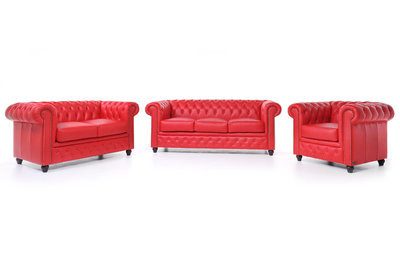 Chesterfield Sofa Original Leather   1 + 2 + 3 seater    Red   12 years guarantee