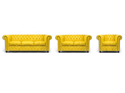 Chesterfield Sofa Original Leather | 1 + 2 + 3 seater  | Yellow | 12 years guarantee