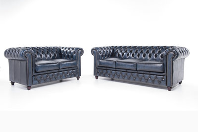 Chesterfield Sofa Original Leather | 2 + 3 seater  | Wash Off Blue | 12 years guarantee