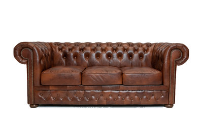 Chesterfield Sofa  First Class Leather | 3-seater | Cloudy Brown Old| 12 years guarantee