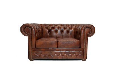 Chesterfield Sofa  First Class Leather | 2-seater | Cloudy Brown Old | 12 years guarantee