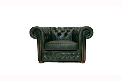 Chesterfield Armchair First Class Leather | Cloudy Green | 12 years guarantee